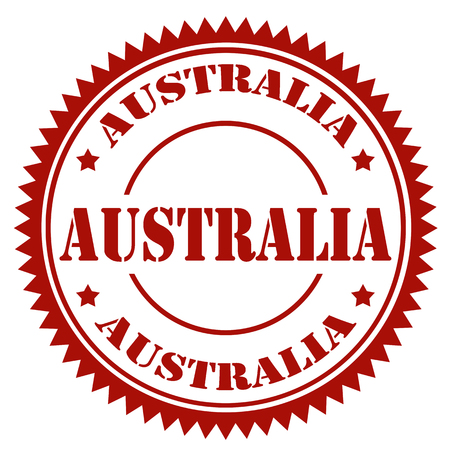 australia stamp: Red stamp with text Australia,vector illustration