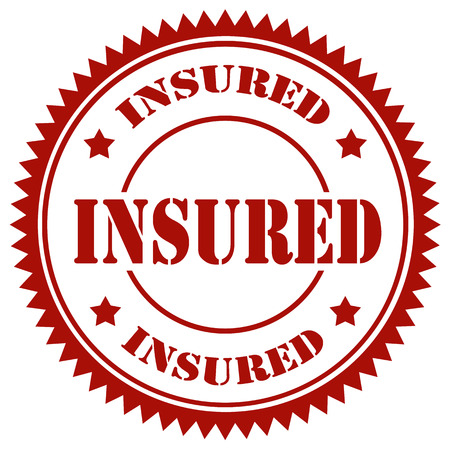 insured: Red stamp with text Insured,vector illustration