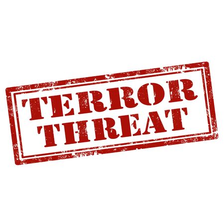 terror: Grunge rubber stamp with text Terror Threat,vector illustration Illustration