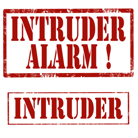 invader: Set of grunge rubber stamps with text Intruder Alarm and Intruder,vector illustration