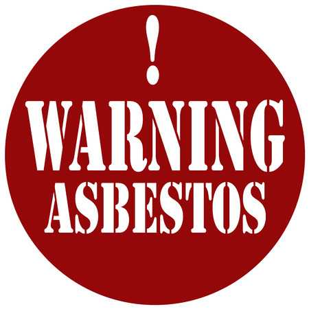 poison symbol: Red stamp with text Warning Asbestos,vector illustration
