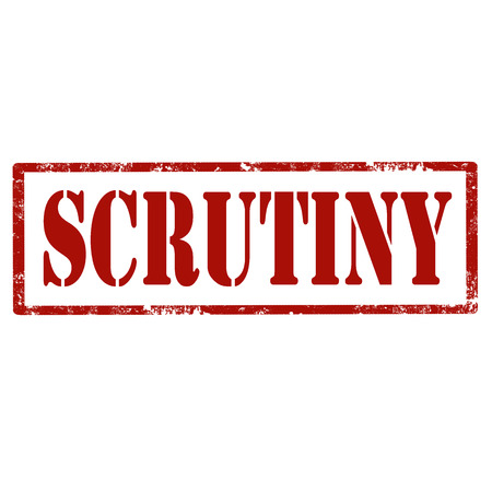 scrutiny: Grunge rubber stamp with text Scrutiny,vector illustration Illustration