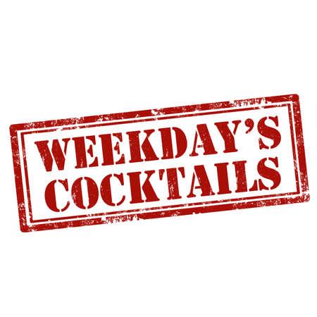 weekdays: Grunge rubber stamp with text Weekdays Cocktails,vector illustration Illustration