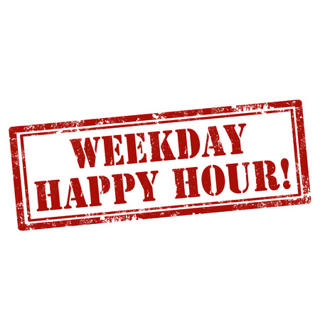 workday: Grunge rubber stamp with text Weekday Happy Hour,vector illustration