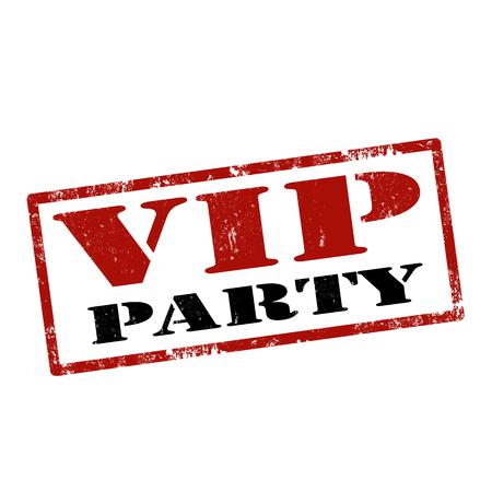 famosos: Grunge sello de goma con el texto VIP Party, ilustración vectorial