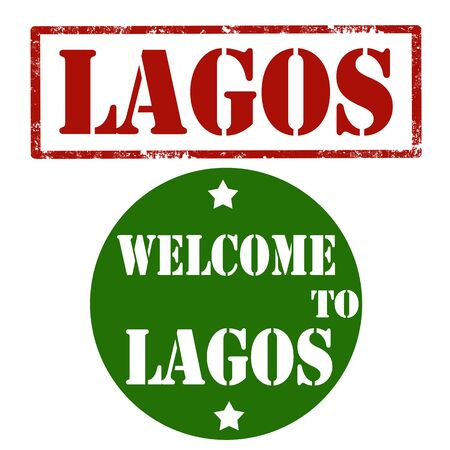 lagos: Set of stamps with text Welcome To Lagos,vector illustration