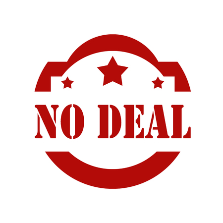 affairs: Red stamp with text No Deal, illustration