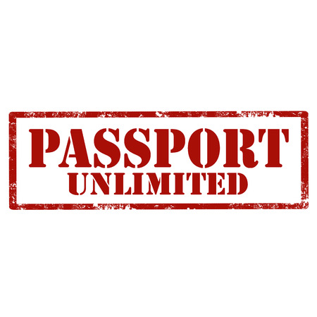 unlimited: Grunge rubber stamp with text Passport Unlimited, illustration