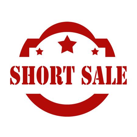 short: Red stamp with text Short Sale, illustration Illustration