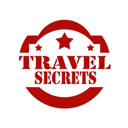 secrets: Red stamp with text Travel Secrets, illustration