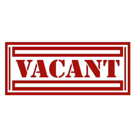 vacant: Red stamp with text Vacant, illustration