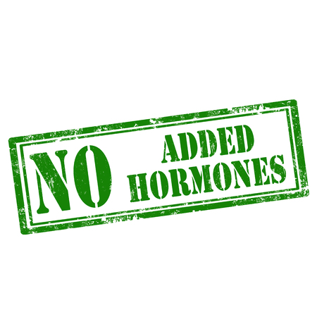 hormones: Grunge rubber stamp with text No Added Hormones,vector illustration