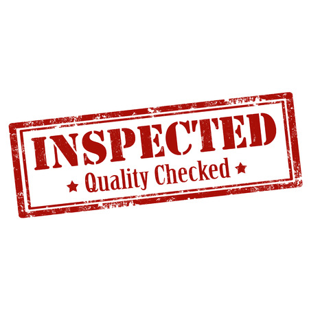 inspected: Grunge rubber stamp with text Inspected-Quality Checked,vector illustration