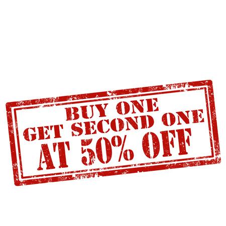 Grunge rubber stempel met tekst Buy One Get One Second Bij 50% Korting, vector illustratie