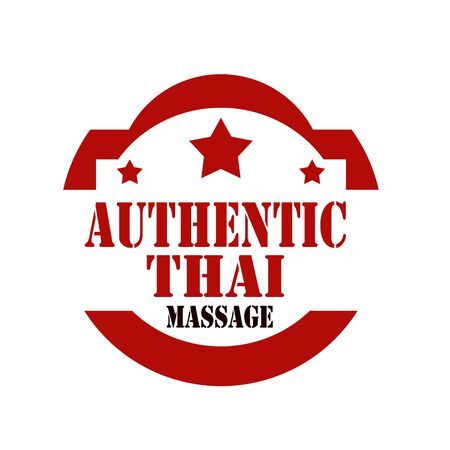 massage symbol: Red stamp with text Authentic Thai Massage,vector illustration
