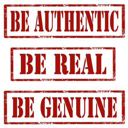 Set de tampons en caoutchouc grunge avec le texte Soyez authentique, Be Real et être authentique, illustration