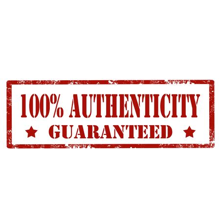 authenticity: Grunge rubber stamp with text 100% Authenticity,illustration