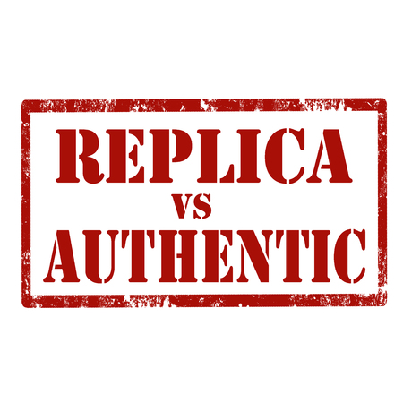 authentic: Grunge rubber stamp with text Replica Vs Authentic,illustration
