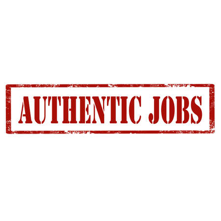 job offers: Grunge rubber stamp with text Authentic Jobs,illustration