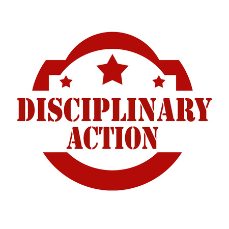 disciplinary action: Red stamp with text Disciplinary Action,vector illustration