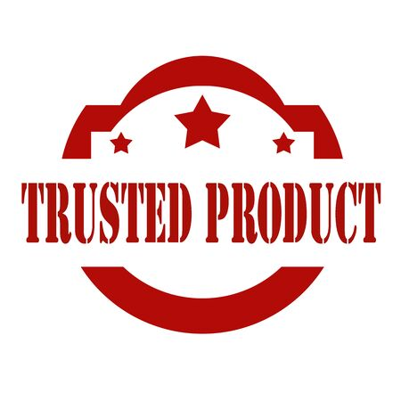 trusted: Red stamp with text Trusted Product. Illustration
