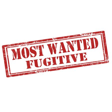 fugitive: Grunge rubber stamp with text Most Wanted Fugitive,vector illustration