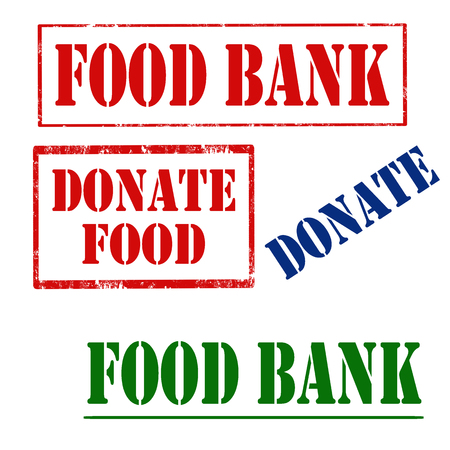 Set of stamps with text Food Bank and Donate Food,vector illustration