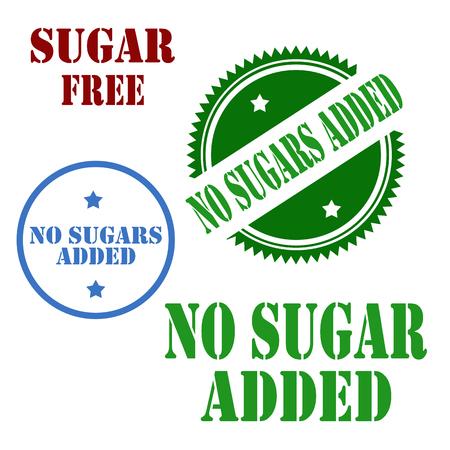Set of stamps with text No Sugar Added,vector illustration Ilustração
