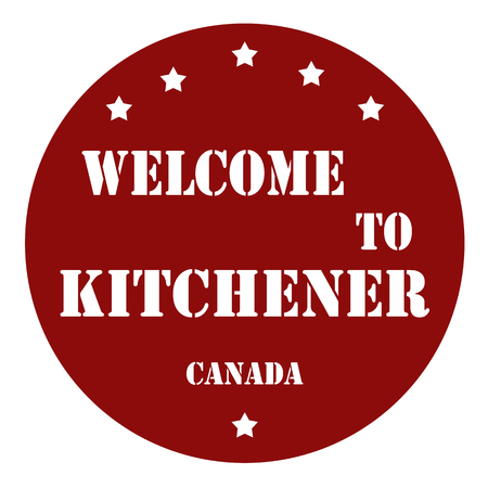 canada stamp: Stamp with text Welcome To Kitchener (Canada),vector illustration