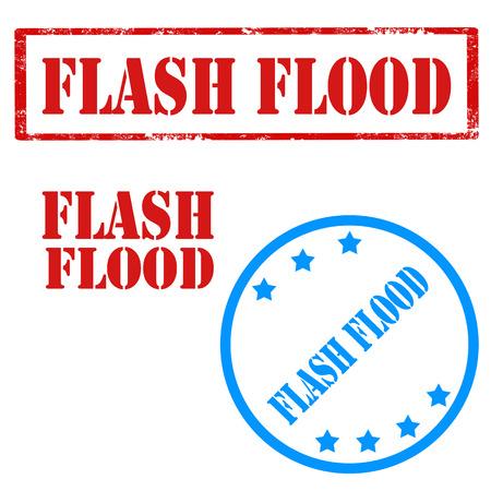 Set von Briefmarken mit Text Flash Flood, Vektor-Illustration