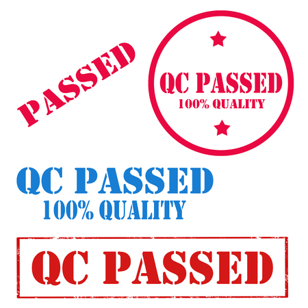 Set of stamps with text QC Passed,vector illustration Çizim