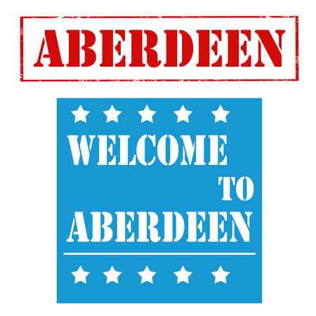 Set of stamps with text Welcome To Aberdeen,vector illustration Illustration