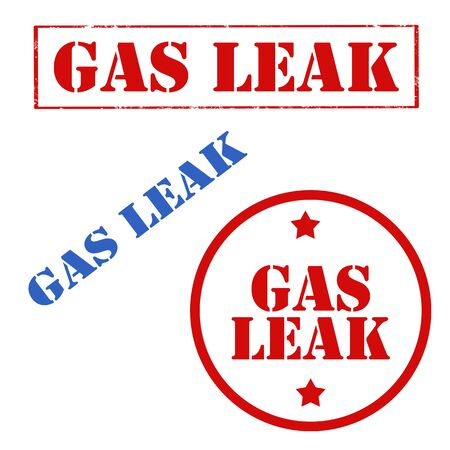 Set of stamps with text Gas Leak,vector illustration