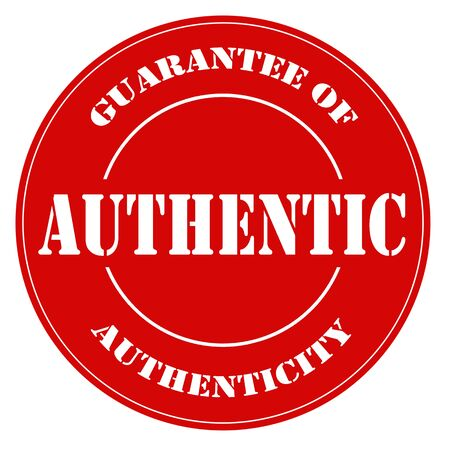 guarantor: Red label with text Authentic-Guarantee Of Authenticity,vector illustration