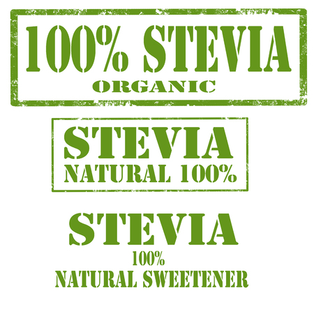Set of stamps with text Stevia vector illustration