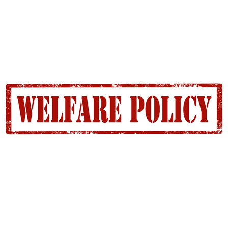 Red stamp with text Welfare Policy, vector illustration.