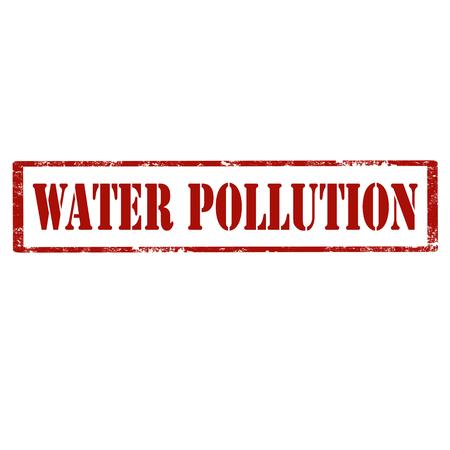 テキスト水汚染、ベクトルイラスト付き赤いスタンプ  イラスト・ベクター素材