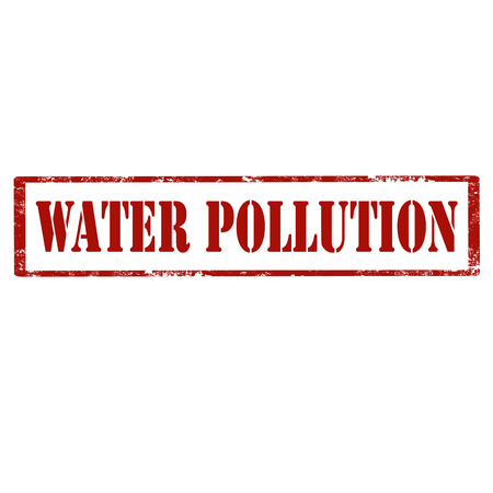 Red stamp with text Water Pollution,vector illustration Illustration