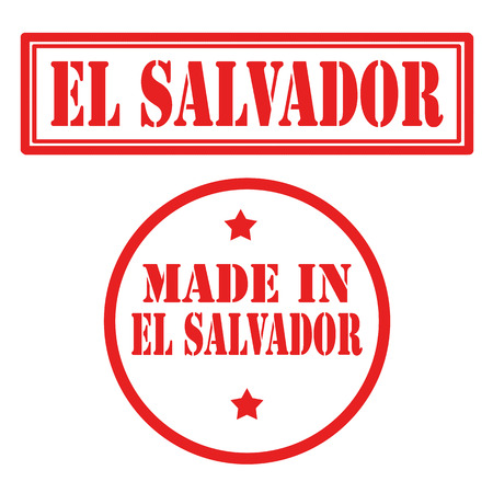 Set of stamps with text El Salvador,vector illustration