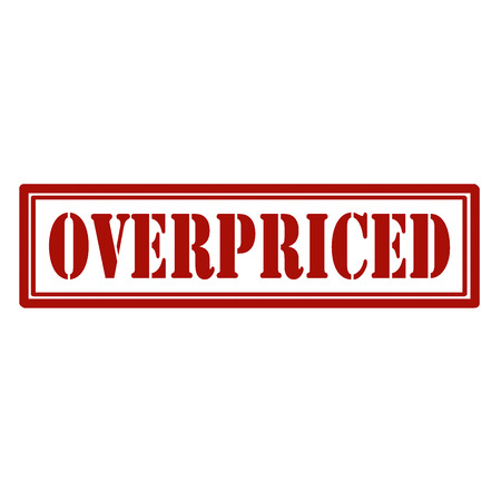 Red stamp with text Overpriced,vector illustration Çizim
