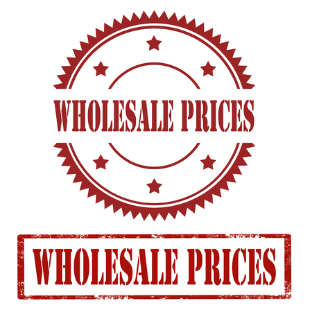 Set of stamps with text Wholesale Prices, vector illustration Illustration