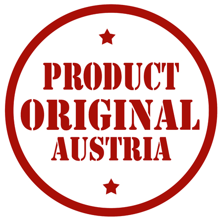 Red stamp with text product original Austria vector illustration.