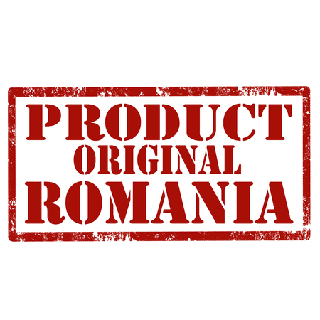 Grunge rubber stamp with text product original Romania vector illustration. Zdjęcie Seryjne - 96325221