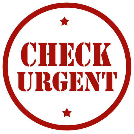 Red stamp with text Check Urgent,vector illustration