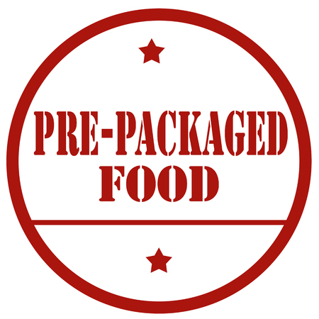 Red stamp with text Pre-Packaged Food, vector illustration Illustration