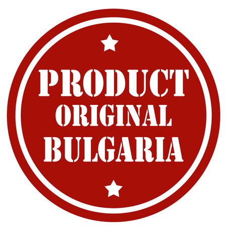 Red label with text Product Original Bulgaria, vector illustration