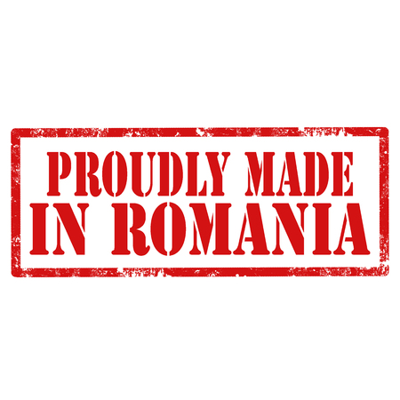 Red stamp with text Proudly Made In Romania,vector illustration 일러스트