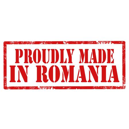 Rode stempel met tekst trots gemaakt in Roemenië, vectorillustratie