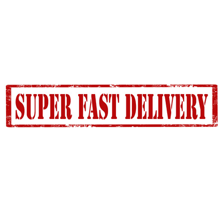 Red stamp with text Super Fast Delivery,vector illustration