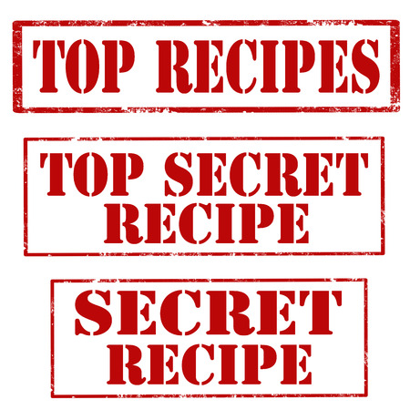 Set of stamps with text Top Recipes,Top Secret Recipe and Secret Recipe,vector illustration